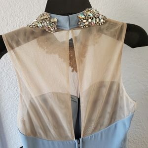City Studio Dresses - Blue Prom Dress with Bejeweled Neckline
